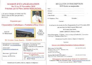 Session d'évangélisation 2018 du père ManJackal à Carmaux